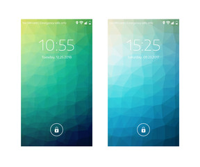 Two Mobile Wallpapers. Low Poly Texture. Mobile Interface. Vector  Illustration.