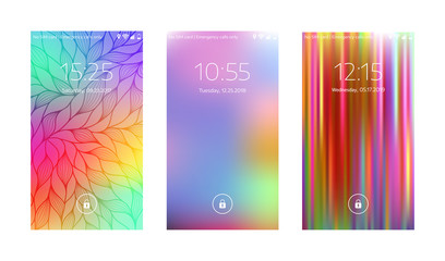 Three Mobile Wallpapers. Abstract Blurry Background. Mobile Interface.  Vector Illustration.