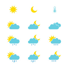 Set of weather icons for web or mobile. Vector illustration