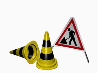 Leitkegel für die Absicherung einer Gefahrenstelle auf dem Firmengrundstück in schwarz-gelb und einem Warnaufsteller für eine Baustelle in rot-weiß