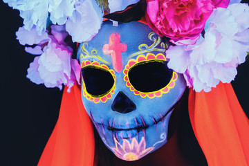 Creative image of Sugar Skull. Neon makeup.