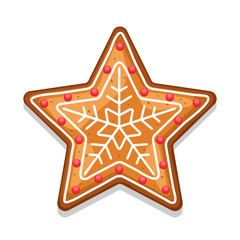 Gingerbread cookies star. Illustration of Merry Christmas sweets
