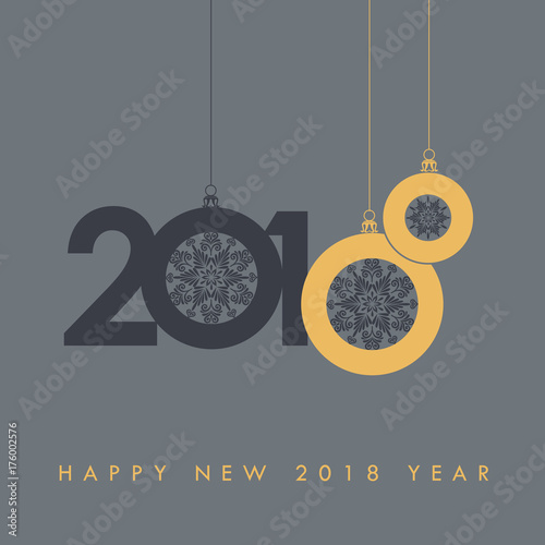 Happy new 2018 year holidays seasons greetings elegant gray and holidays seasons greetings elegant gray and gold design with christmas m4hsunfo
