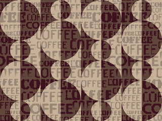 Coffee. Abstract coffee beans on brown background with a lettering.