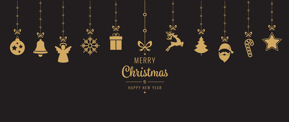 christmas golden ornament elements hanging black background
