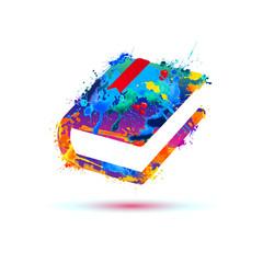 Book icon. Vector splash paint
