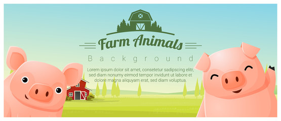 Farm animal and Rural landscape background with pigs , vector , illustration