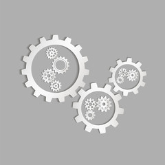 Set of gears. Silver gears for the designer project. Vector illustration.