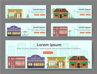 cafe Banners template horizontal,coffee shop , store ,house.