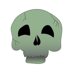 Illustration for Halloween. Picture of a cartoon skull. Vector illustration. Hand drawing