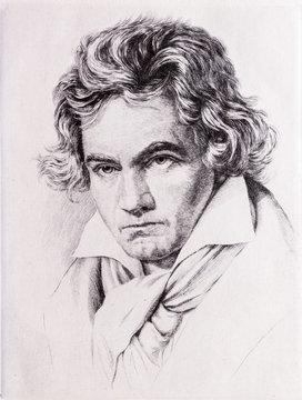 Portrait of Ludwig van Beethoven.