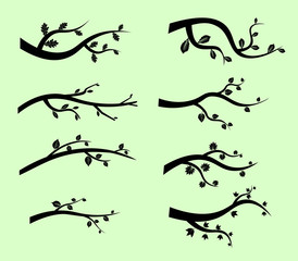 Stylized black tree branch silhouettes on green, Vector black branches leaves. Flat design Vector Illustration EPS