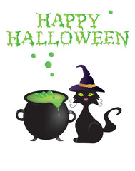Happy Halloween card with cauldron and cat