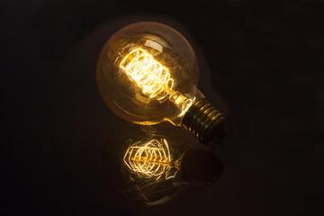 detail of focus light capture on black background
