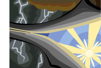 Sunshine through the Storm Clouds. Life, weather and time concept illustration vector.