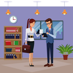 Business people in office cartoon icon vector illustration graphic design