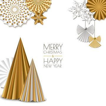 Merry Christmas, Happy New Year greeting card. Vector golden paper decoration snowflakes, christmas tree, angel.