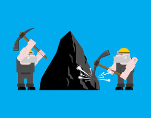 Miner worker mining isolated. collier with pickaxe. Pitman is at work in mine. Working Coal Mining. Vector illustration