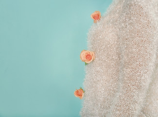 Wall Mural - Woman in sweater decorated with apricot roses against trendy color background