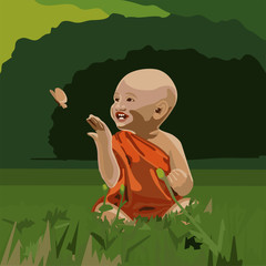 Young buddhist child playing with butterfly in green forest. Happiness, spirituality, peace, mindfulness concept illustration vector.