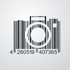 Icono plano codigo de barras camara fotos en fondo degradado