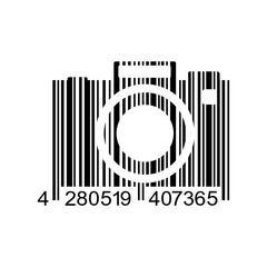 Icono plano codigo de barras camara fotos negro en fondo blanco