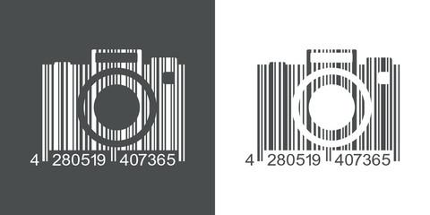 Icono plano codigo de barras camara fotos gris y blanco