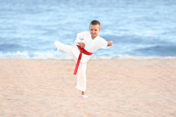 Little boy practicing karate outdoors