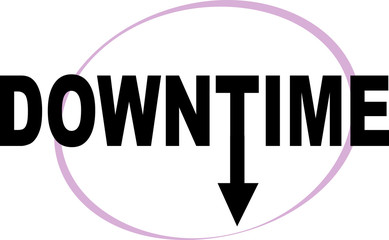 Downtime word text logo Illustration. Down clock needle arrow concept isolated flat vector. Transparent.