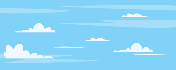 Beautiful blue sky with cute clouds background vector illustration.Clean sky on mid day.
