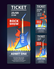 Ticket design template of music event. Poster music with illustration of rock guitar. Banner of music concert