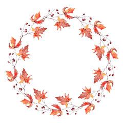 watercolor maple wreath.