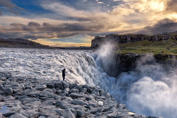 Sunset at the powerful Dettifoss waterfall