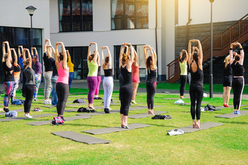 Group of adults attending a yoga class outside in yard