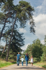 Back view of family of four walking on a road through a forest