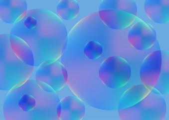 Transparent colored balls on a blue background. Vector illustration. eps 10