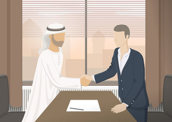 Two businessmen shaking hands. Office concept. City view in window. Retro style poster. Vector illustration.