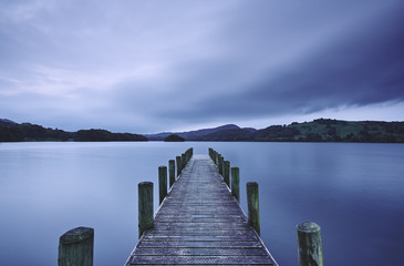 Jetty at dawn. Coniston Water, Cumbria, UK.
