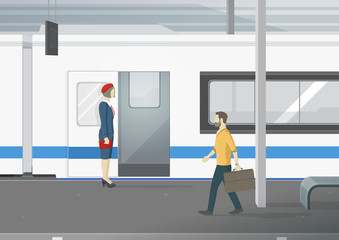 Conductor standing on railway platform. Man with suitcase going out of train. Vector illustration.