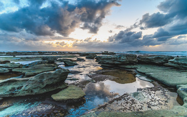 Early Morning Cloudy Seascape
