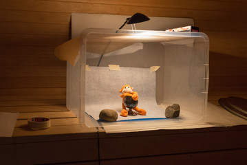 Amateur home made photo studio in the sauna. Inexpensive self made diy softbox setup for product photography