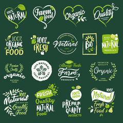 Set of labels and elements for organic food and drink, restaurant, food store, natural products, farm fresh food,  e-commerce, healthy product promotion.