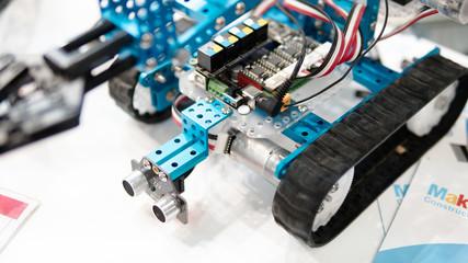 electronic robots close-up shallow focus. working in robotics laboratory. children building robots at robotics school