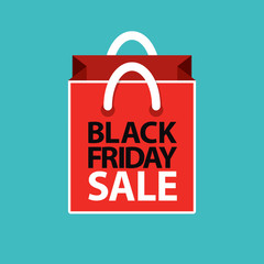 flat black friday sale shopping bag red on blue