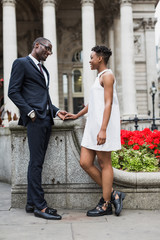 Beautiful couple meeting in the city
