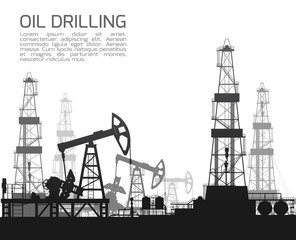 Drilling rigs and oil pumps isolated on white background. Detail raster illustration.