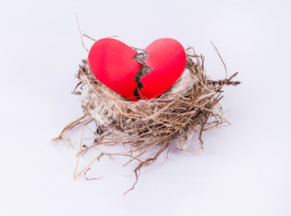 bird nest with cracked heart isolated on white background