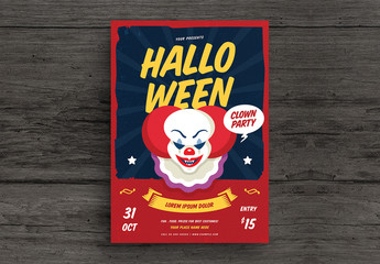 Halloween Clown Party Flyer Layout 1
