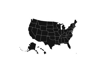 Wall Mural - Blank similar USA map isolated on white background. United States of America country. Vector template for website, design, cover, infographics. Graph illustration