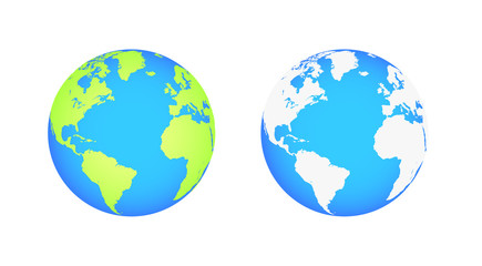 Wall Mural - Earth globes isolated on white background. Flat planet Earth icon. Vector illustration
